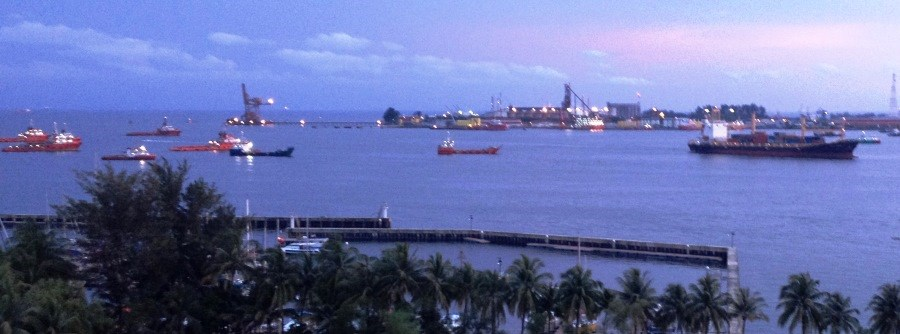Labuan bay with service vessels at anchor