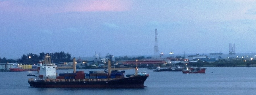 Container ship arriving at Labuan port